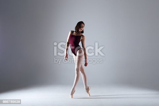 istock Young ballerina in a black dancing suit is posing on a grey background in the photostudio 666789538