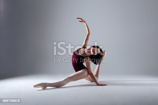 istock Young ballerina in a black dancing suit is posing on a grey background in the photostudio 666789628