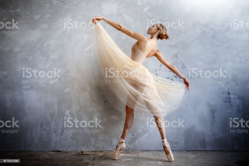Young ballerina in a golden colored dancing costume is posing in a loft studio stock photo