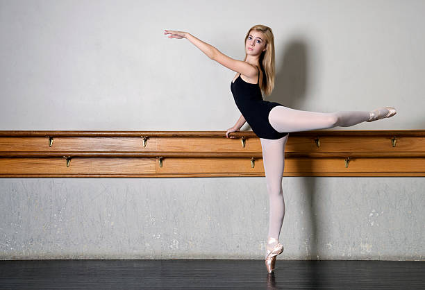 young ballerina practicing - leotard stock photos and pictures