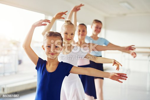 istock Young ballerinas dancing and looking at camera in class 850961682