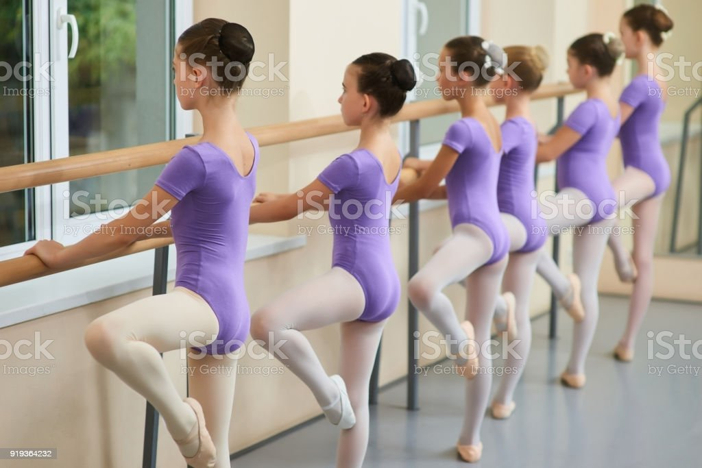 Young ballerinas training at ballet barre. stock photo