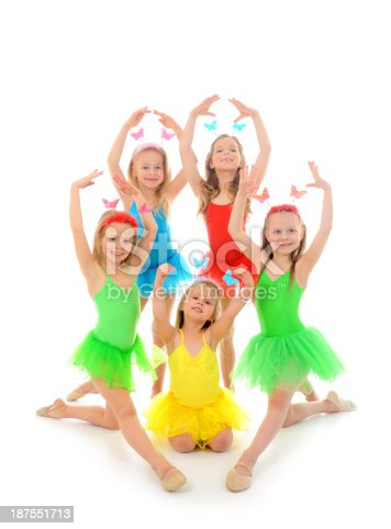 istock Young ballet dancer girls in bright tutus 187551713