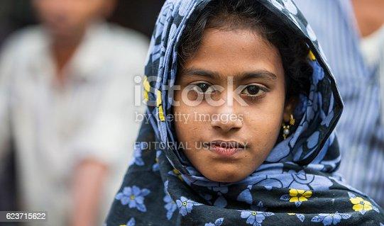 Chittagong, Bangladesh - February 25, 2016: Chittagong, Bangladesh, February 25th, 2016: Portrait of a young bangladeshi girl in a sari