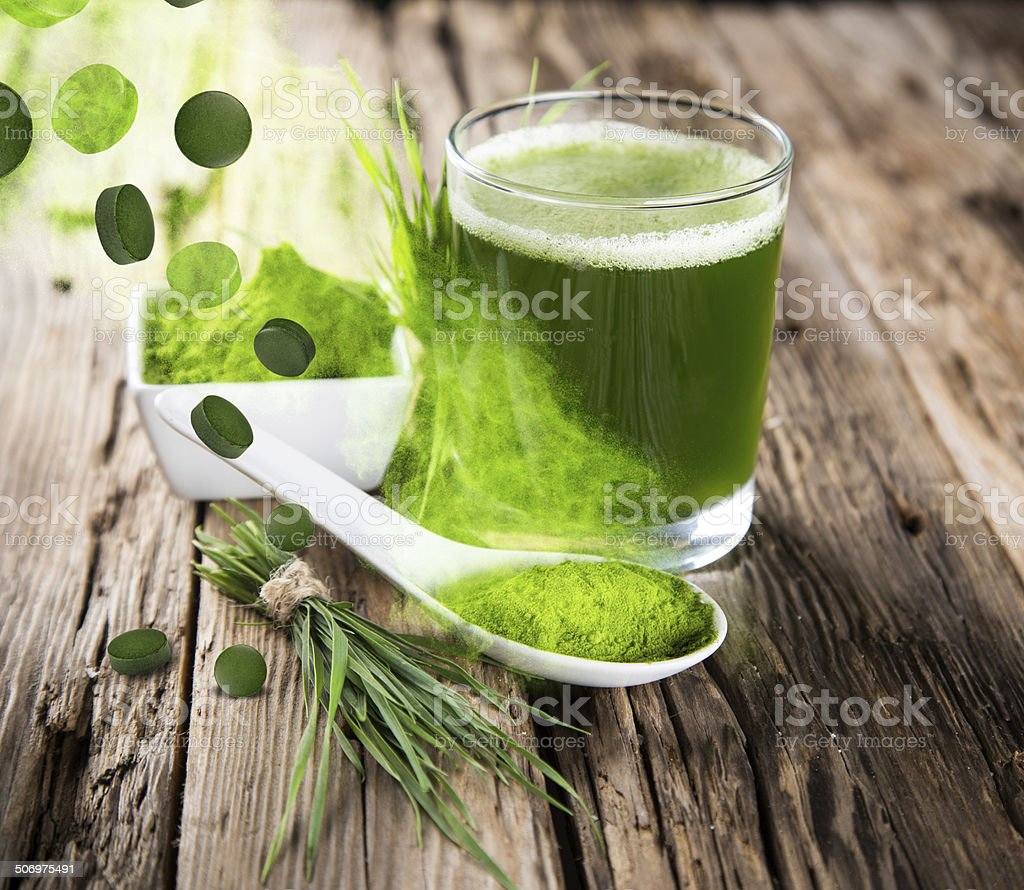 Young barley, chlorella superfood. royalty-free stock photo