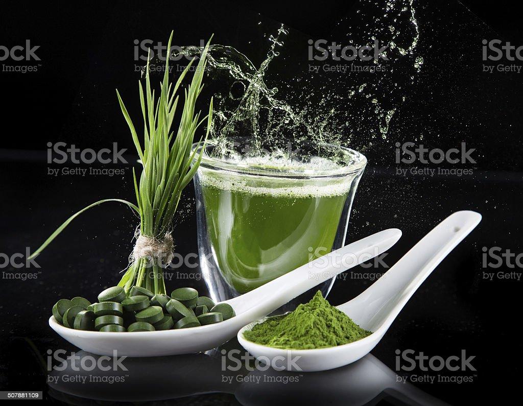 Young barley, chlorella superfood. stock photo