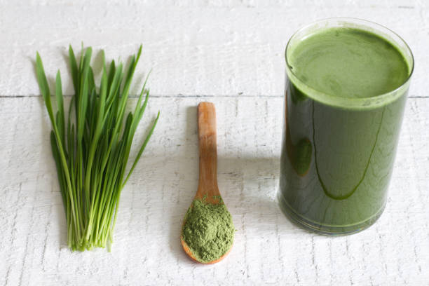 Young barley with fresh grass detox diet concept stock photo