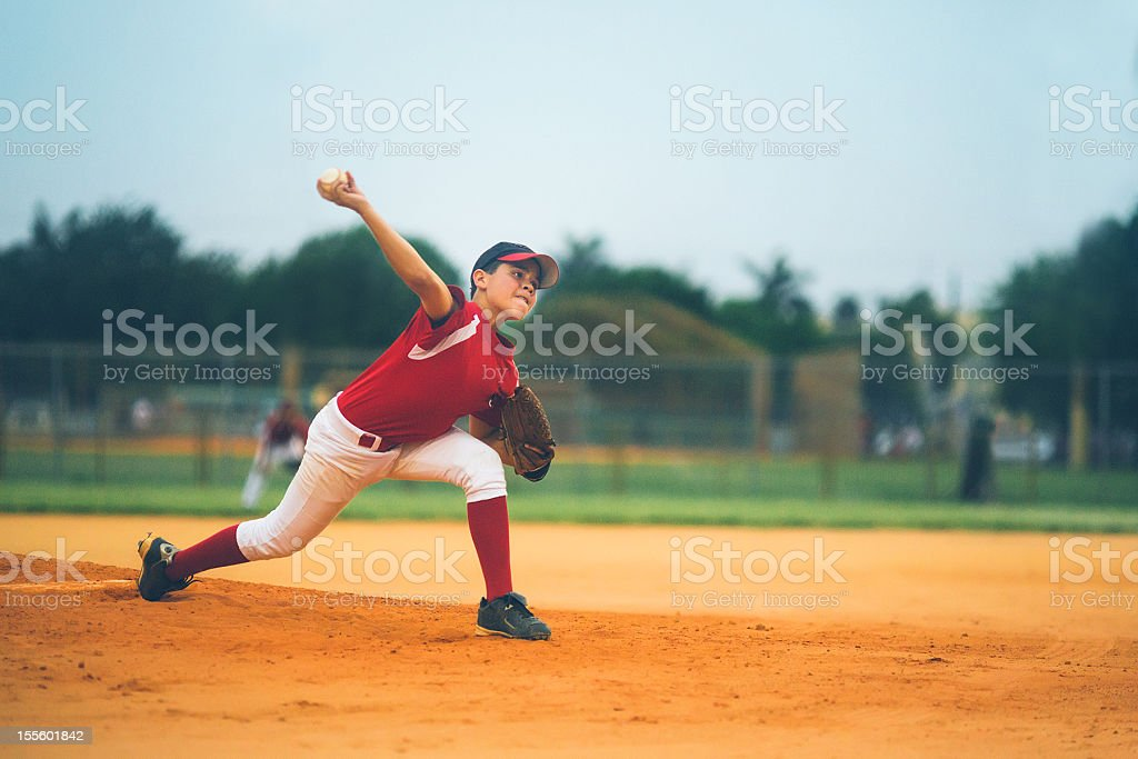 young baseball league pitcher royalty-free stock photo