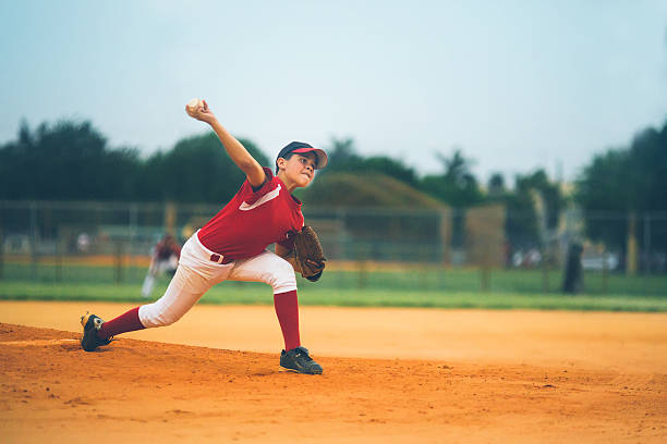 young baseball league pitcher  baseball sport stock pictures, royalty-free photos & images