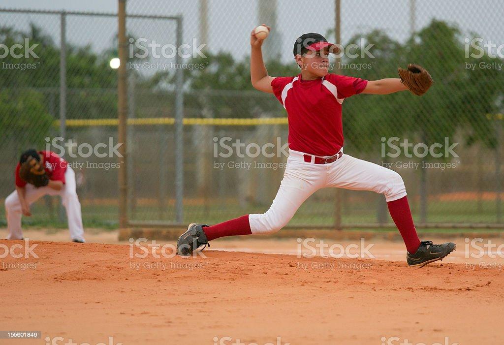 young baseball league pitcher stock photo