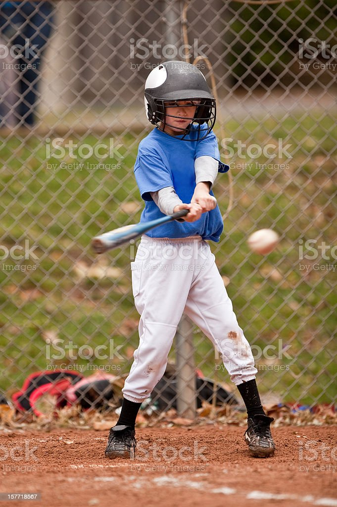Young Baseball Player About to Hit Ball royalty-free stock photo
