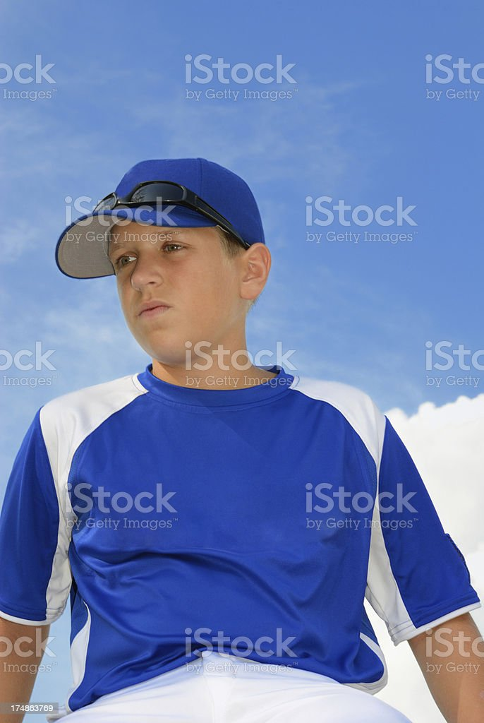 Young baseball player with copy space royalty-free stock photo