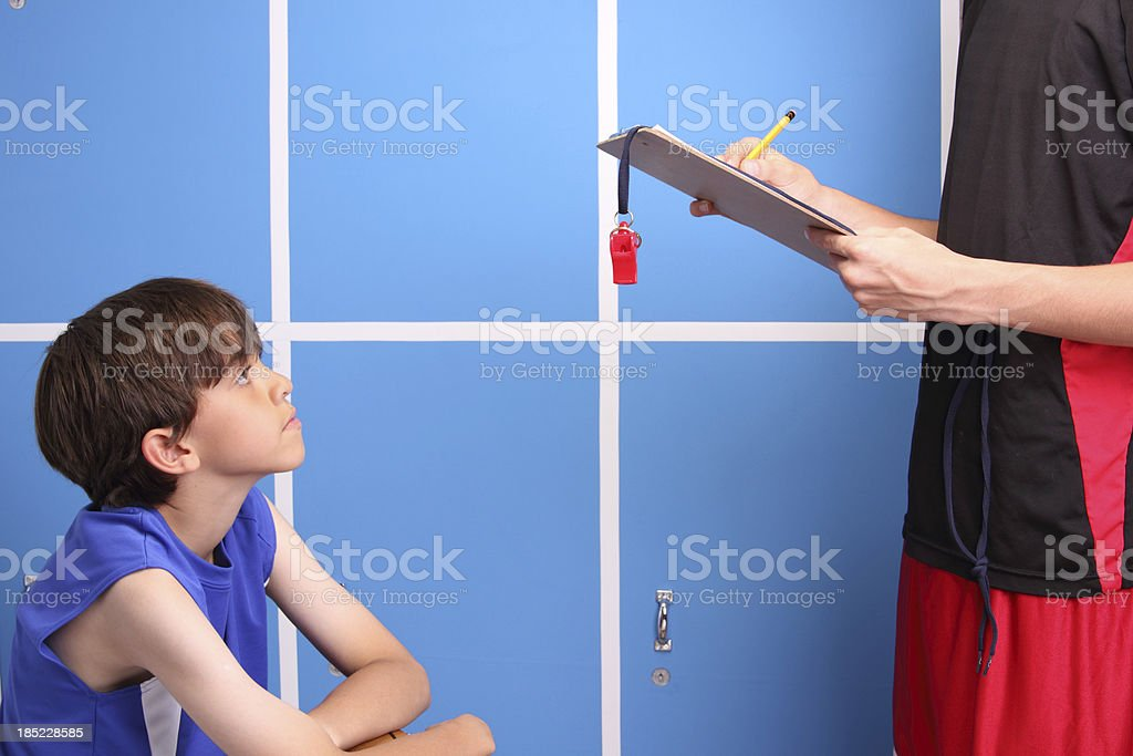 Young Basketball Player And His Coach royalty-free stock photo