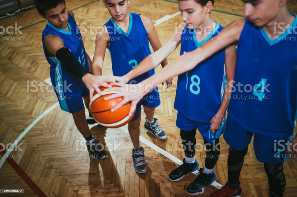 Young basketball team before the game stock photo