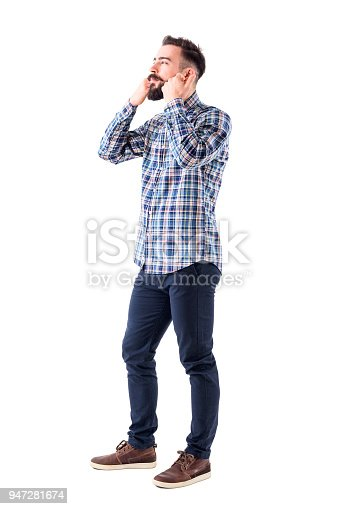 931173966istockphoto Young bearded hipster in checked shirt petting and stroking beard looking away 947281674