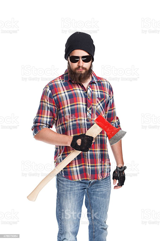 young bearded lumberjack with ax stock photo