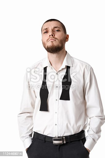 471947536 istock photo young bearded man in a white shirt and bow tie 1124469014