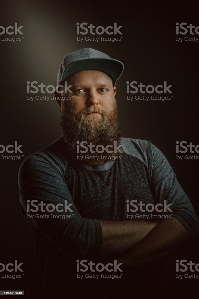 Young bearded man portrait stock photo