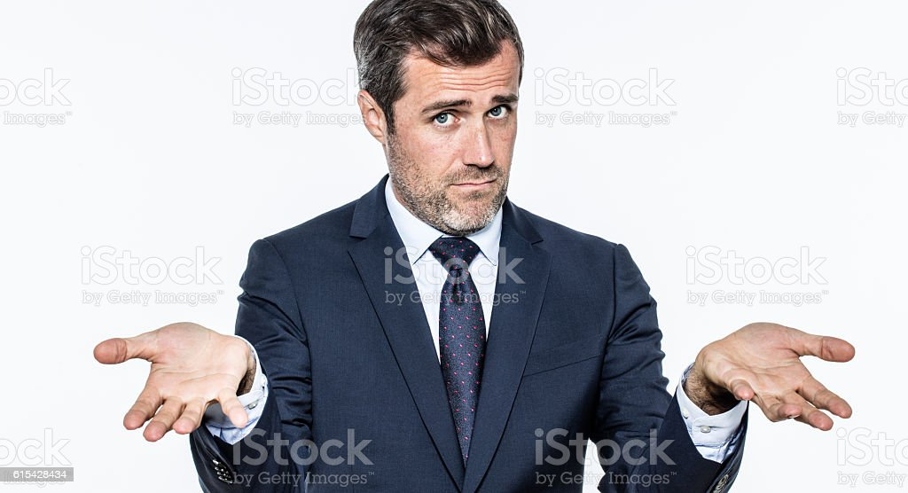 young bearded manager accusing or reproaching leadership for being coward stock photo