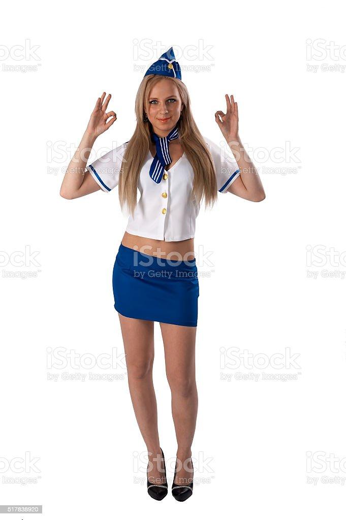 Junge schöne eine Hostess mit Daumen hoch Geste – Foto