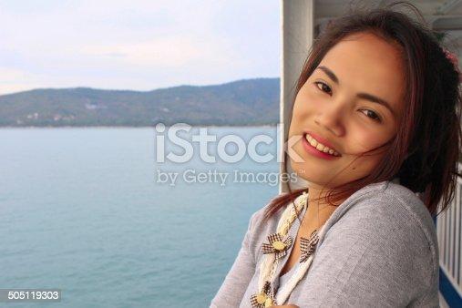 young beautiful asian girl romantic teenage model enjoy with travel koh samui island on ferry, thailand