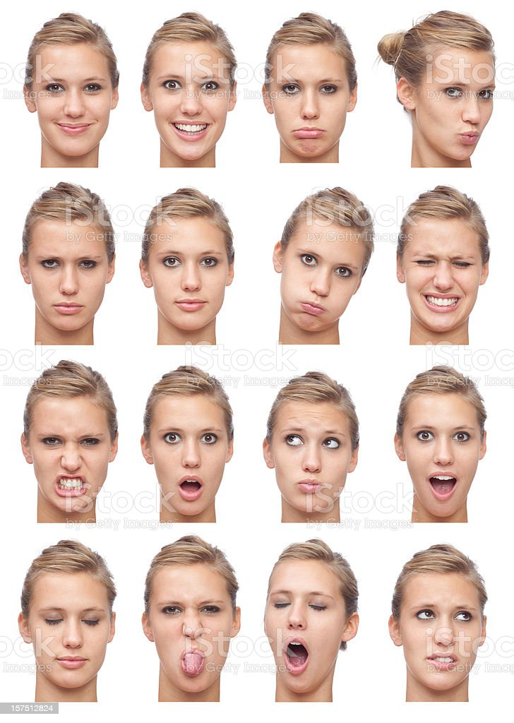 young beautiful blonde girl expression collection isolated on white royalty-free stock photo