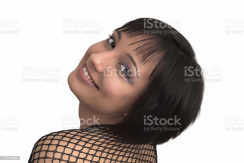 Young beautiful brunette with net dress posing royalty-free stock photo