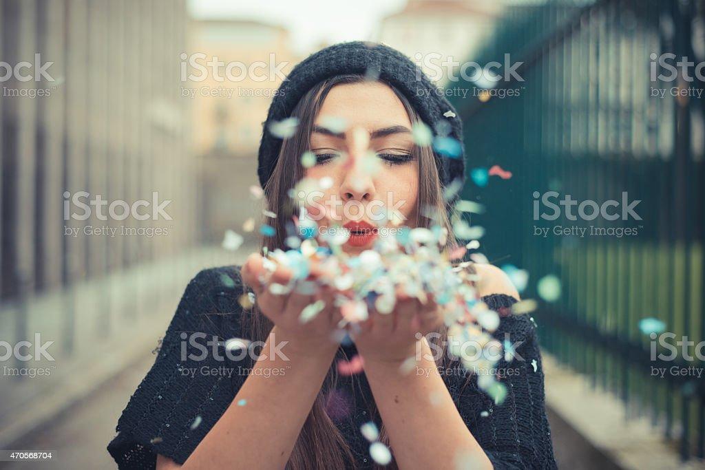 young beautiful brunette woman girl stock photo