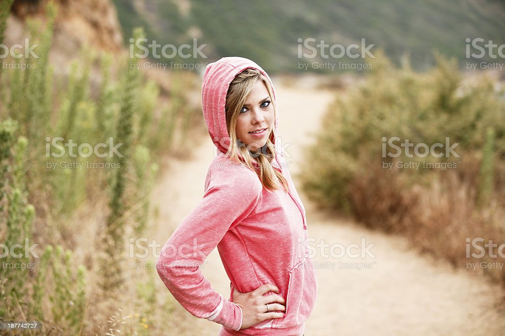 Young Beautiful Casual Female Outdoors stock photo