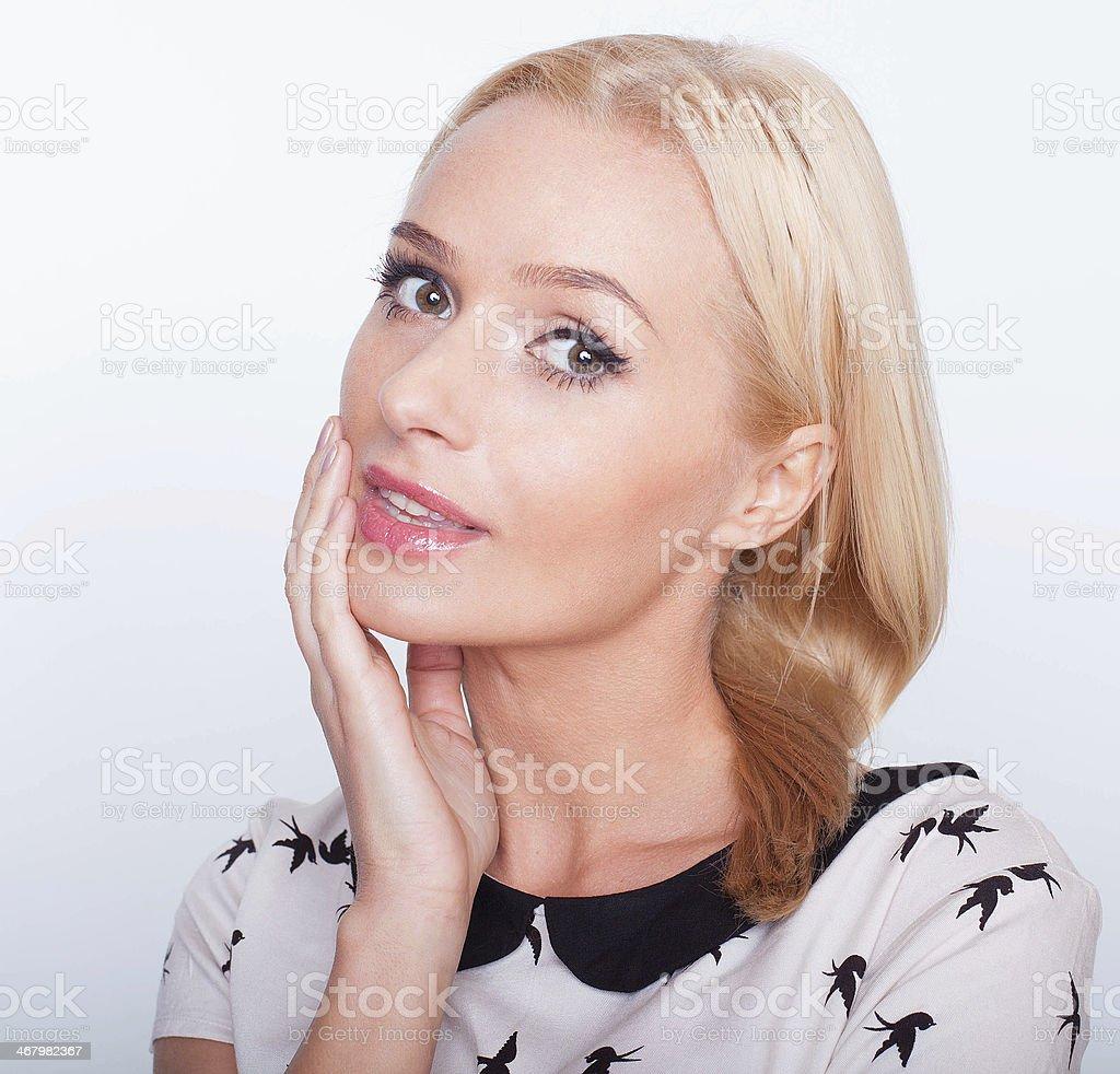 Young beautiful Caucasian blond woman stock photo