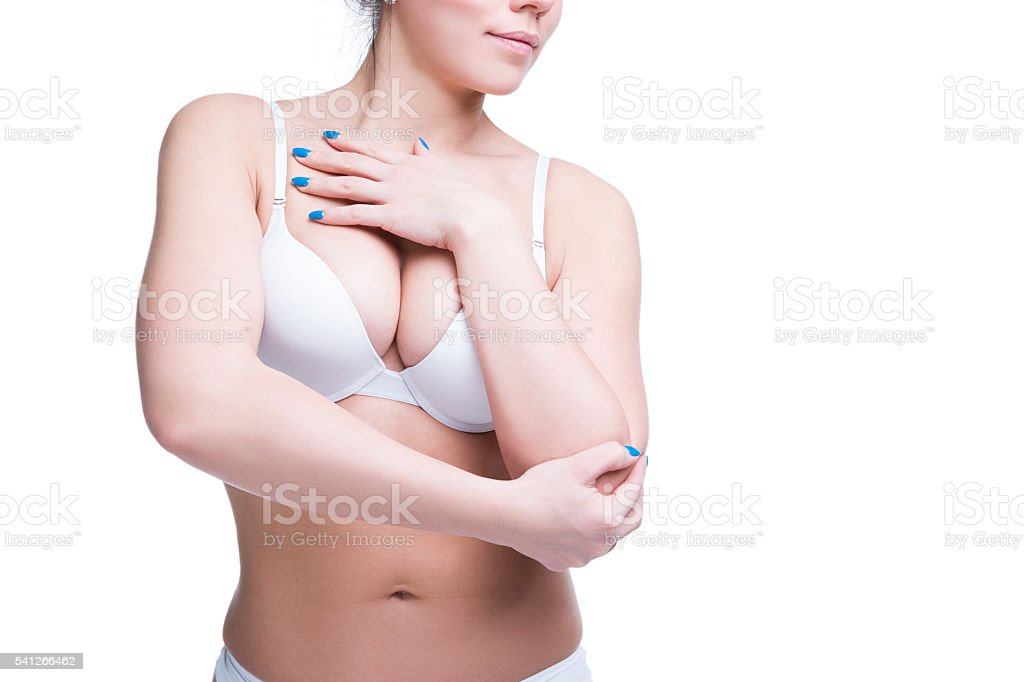 Young beautiful caucasian woman with large natural breasts. Copy space – Foto