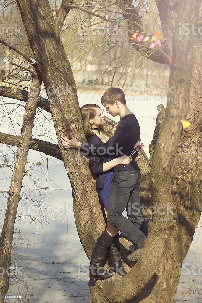 Young beautiful couple hugging against the tree royalty-free stock photo
