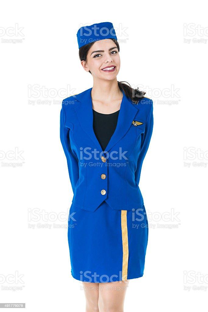 Jungen schönen Flugbegleiterin Stewardess vereinbart werden, wie Lächeln – Foto
