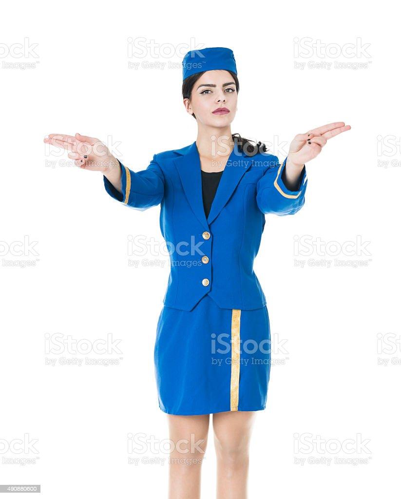 Junge schöne Stewardess Stewardess vereinbart werden, welche die Extits – Foto