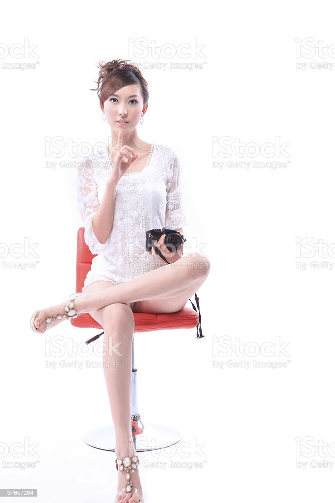 young beautiful girl and chair royalty-free stock photo