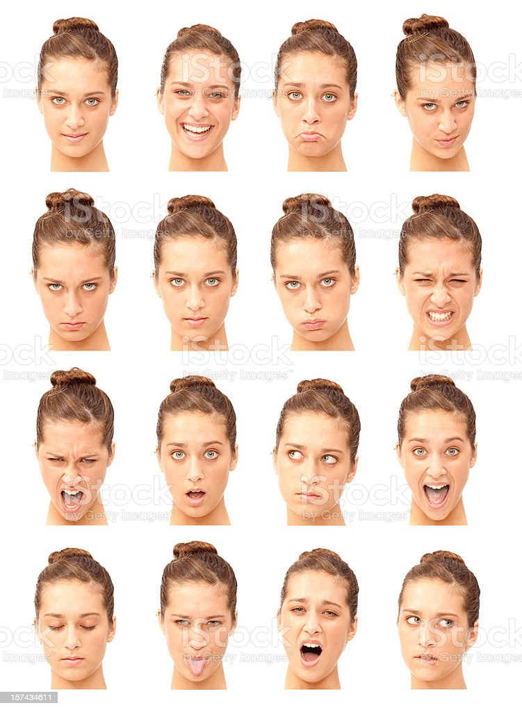 young beautiful girl expression collection isolated on white royalty-free stock photo