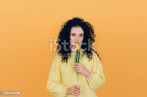 young beautiful girl in a sweater holding in her hands a beautiful yellow tulip on orange background