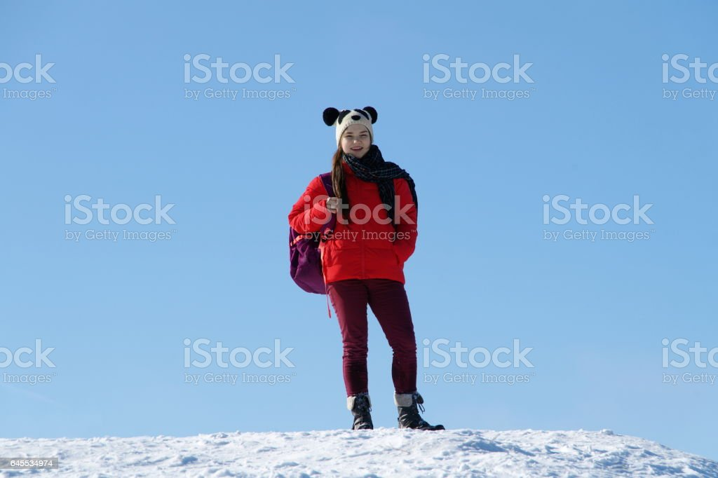 Young beautiful girl in a red jacket on a background of a winter landscape stock photo