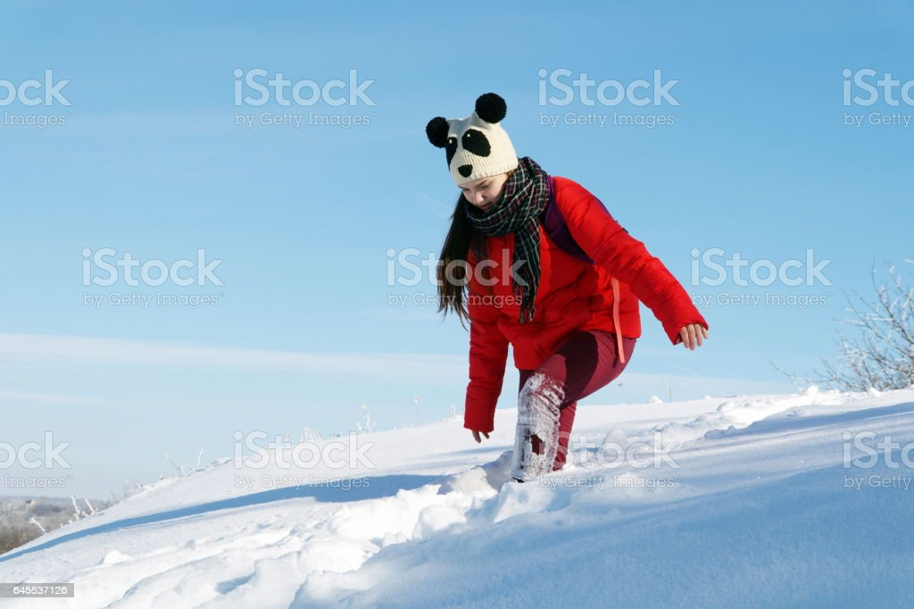 Young beautiful girl in a red jacket walking on winter landscapes stock photo