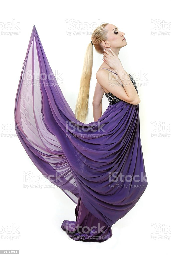 young beautiful girl in long dress over white royalty-free stock photo
