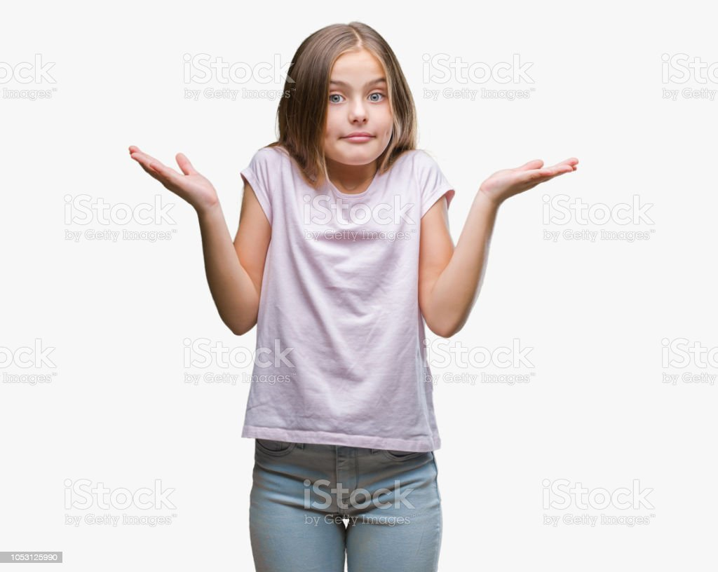 Young beautiful girl over isolated background clueless and confused expression with arms and hands raised. Doubt concept. Young beautiful girl over isolated background clueless and confused expression with arms and hands raised. Doubt concept. Asking Stock Photo