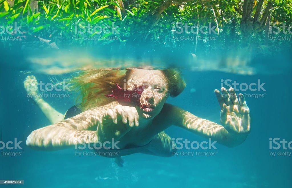 Girls naked under water