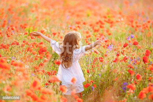 Young beautiful girl walking and dancing through a poppy field, summer outdoor, Toned