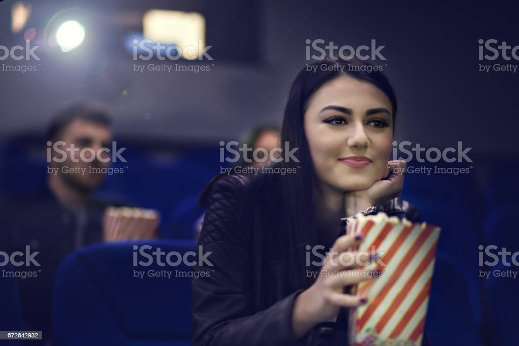Young Beautiful Girl Watching Movie At The Cinema Stock Photo More Pictures Of Adult Istock