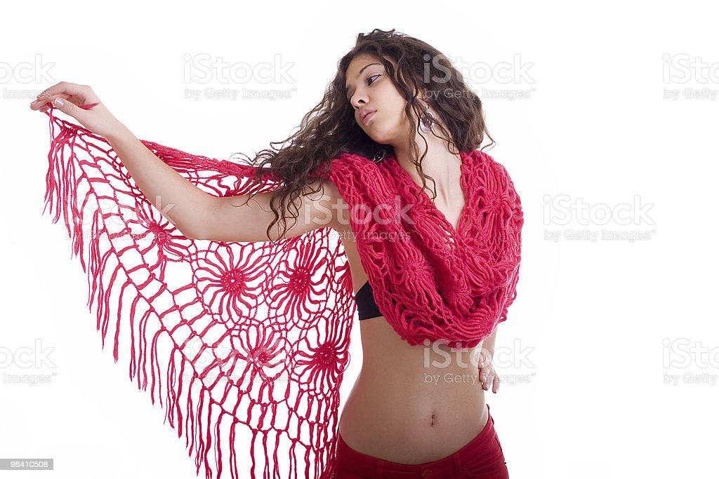 Young beautiful girl with red scarf royalty-free stock photo