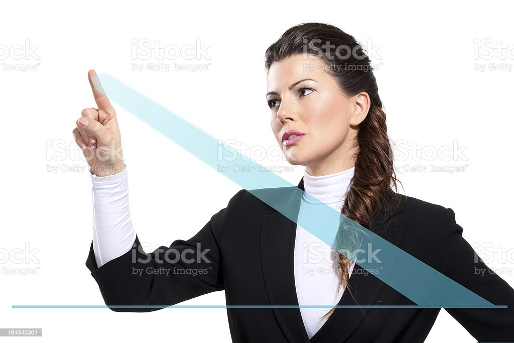 Young beautiful happy business woman showing digital charts royalty-free stock photo