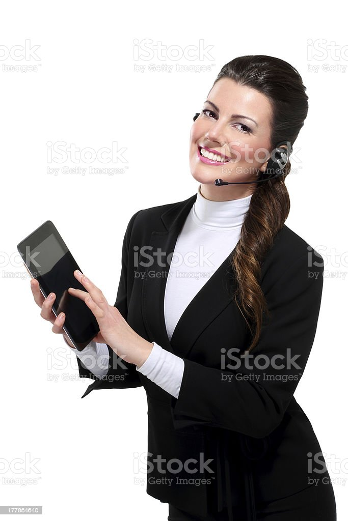 Young beautiful happy business woman with tablet royalty-free stock photo