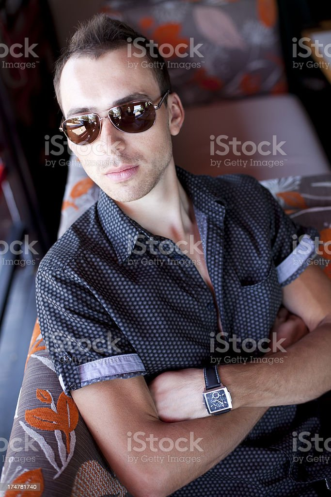 Young Beautiful Man In Restaurant royalty-free stock photo