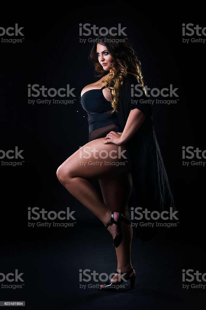 Young beautiful plus size model in underwear, xxl woman​​​ foto