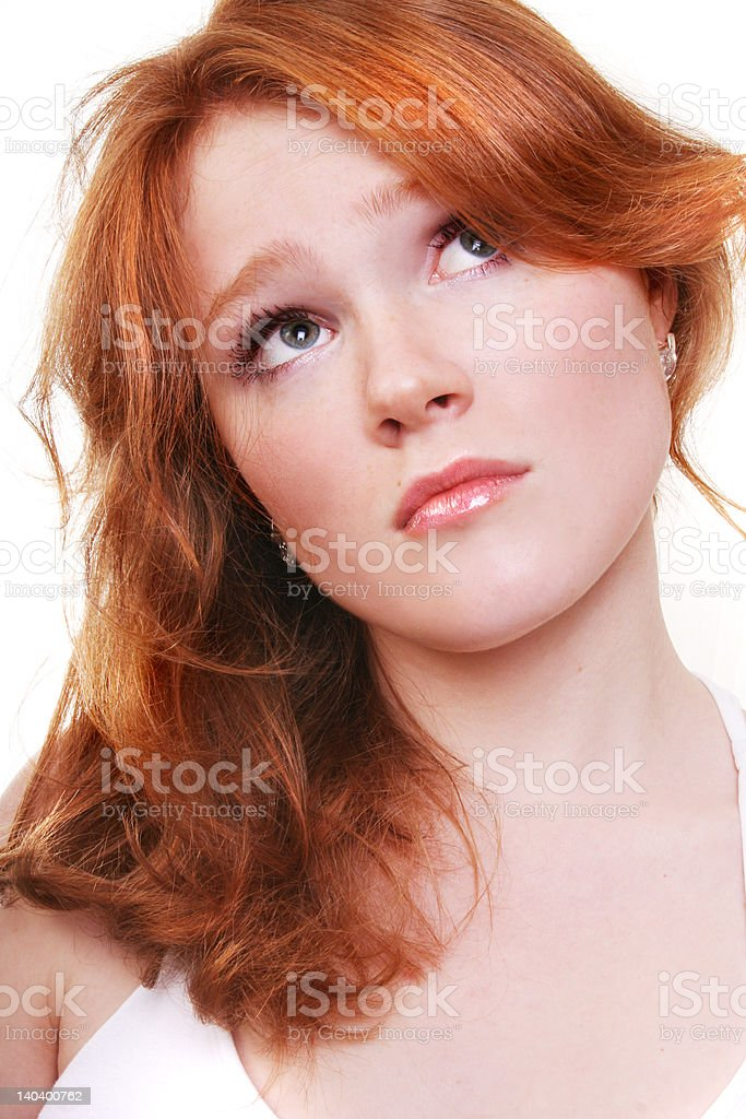 young beautiful sexy red woman on the white royalty-free stock photo